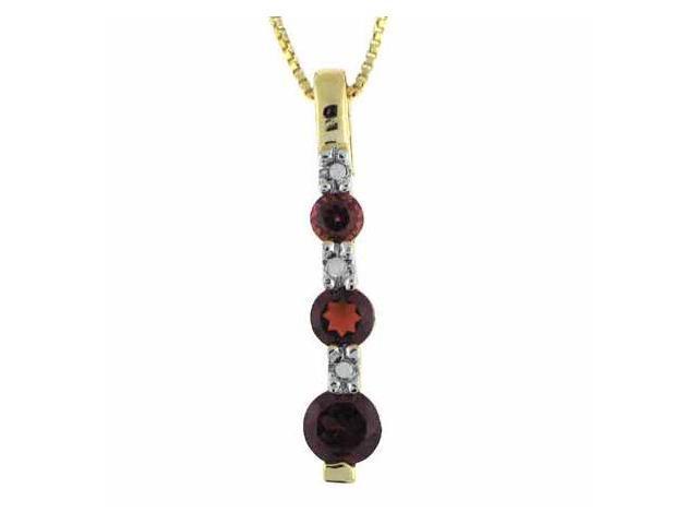 Vermeil (24kt Gold over Silver) 3 stone Genuine Garnet and Genuine Diamond Accen