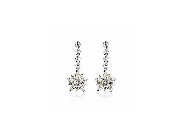 Dangling Flower Yellow cz and Simulated Diamond CZ Silver Earrings