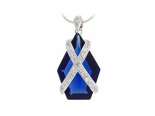 Sterling Silver Simulated Diamond CZ X and Blue Cubic Zirconia Pendant