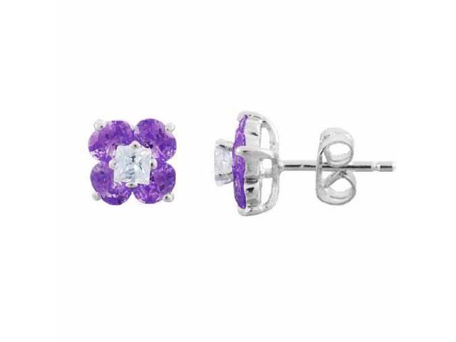 Sterling Silver Simulated Amethyst Cubic Zirconia and Simulated Diamond CZ Flowe