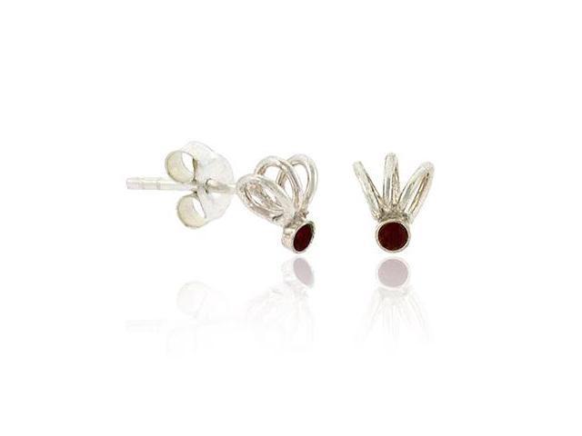 Sterling Silver .925 Red Rhinestone Swirl Small Mini Kid Stud Earrings