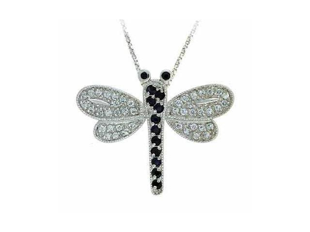 Black Genuine Sapphire and Simulated Diamond CZ DragonFly Silver Slide Pendant