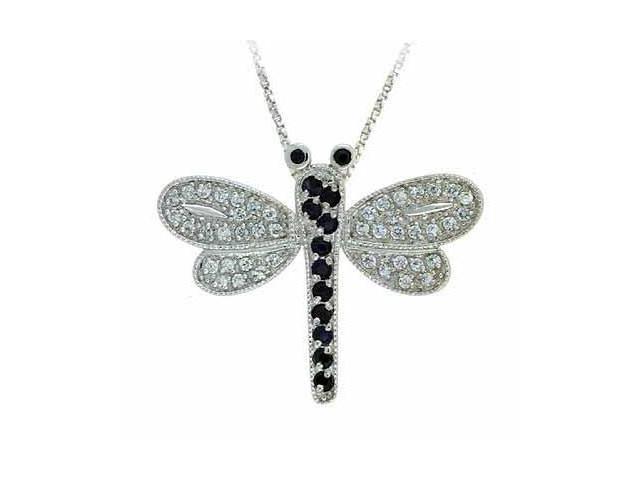 Black Genuine Sapphire and Simulated Diamond CZ DragonFly Silver Slide Pendant