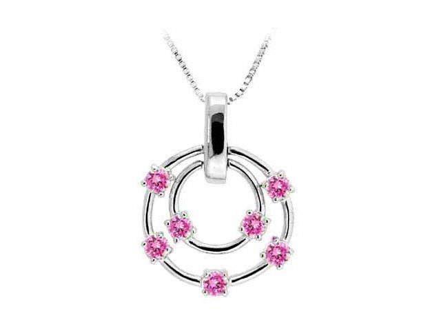 Sterling Silver Floating Created Pink Sapphire Double Circle Pendant