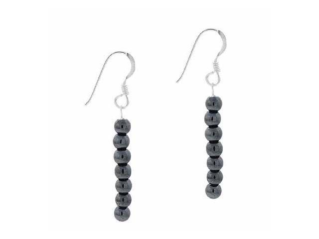 Sterling Silver 4mm Genuine Hematite Stone 6 Bead Beaded Dangle Hook Earrings