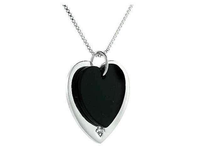 Double Heart Sterling Silver Genuine Onyx and Simulated Diamond CZ Pendant