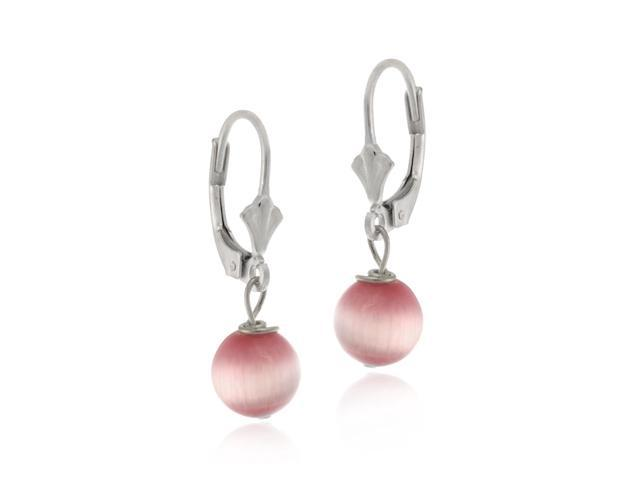 Sterling Silver Pink Cats Eye Dangling Beaded LeverBack Lever Back Earrings