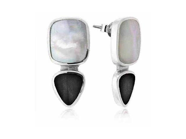 Sterling Silver Genuine Onyx and Mother of Pearl Inlay Earrings
