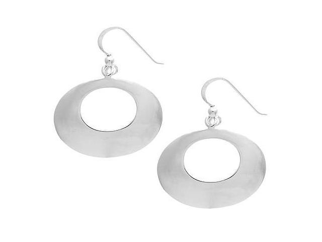 Sterling Silver .925 Oval Disc Dangle Earrings