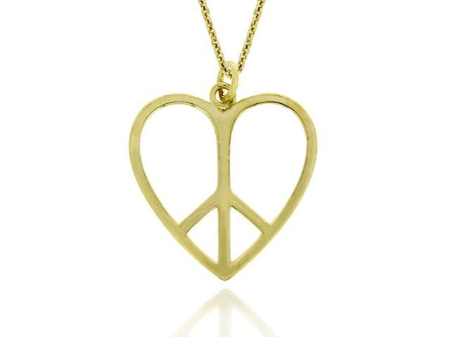 18k Gold over Silver Heart Peace Sign Pendant