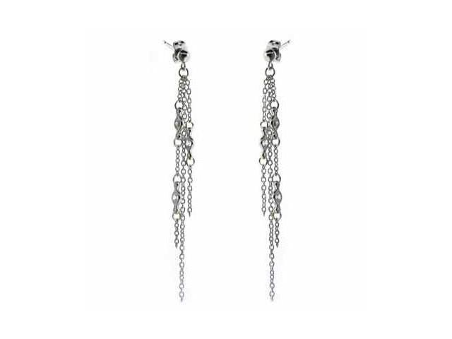 Trendy Punk Dangling Sterling Silver Three Chain Earrings w/ Simulated Diamond C