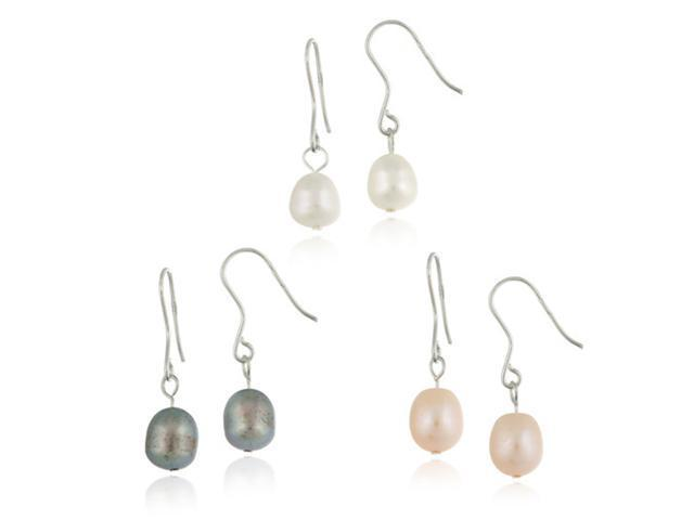 Sterling Silver Baroque Freshwater Cultured Pearl White, Peach, Grey, 3 Set Earr