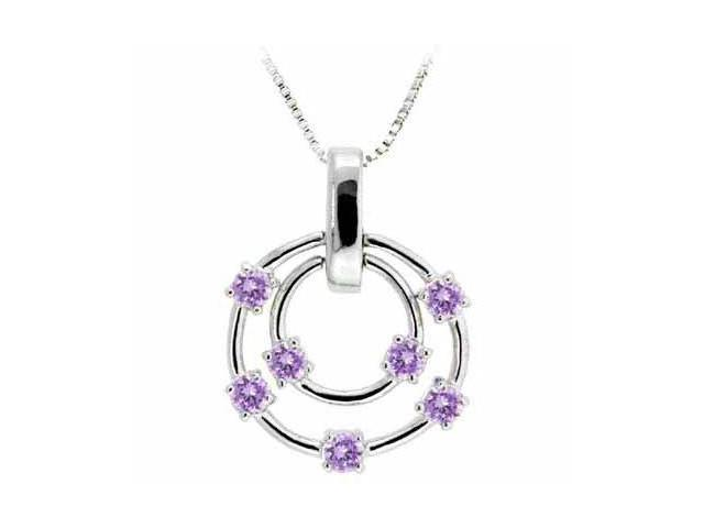 Sterling Silver Floating Simulated Amethyst Cubic Zirconia Double Circle Pendant
