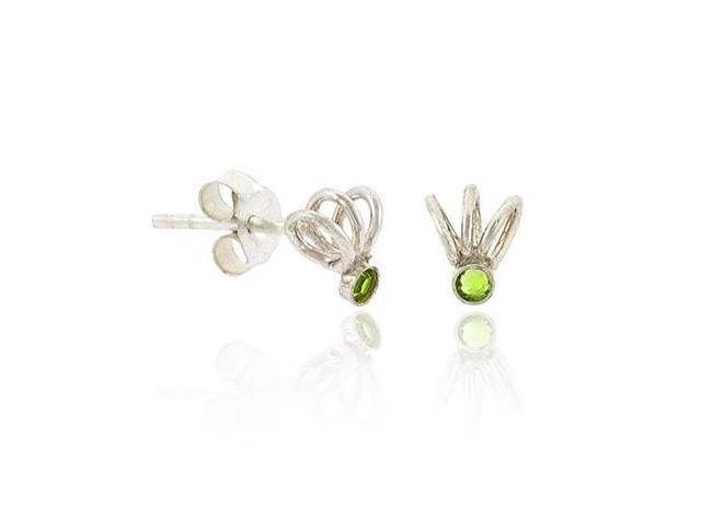 Sterling Silver .925 Light Green Rhinestone Swirl Small Mini Kid Stud Earrings