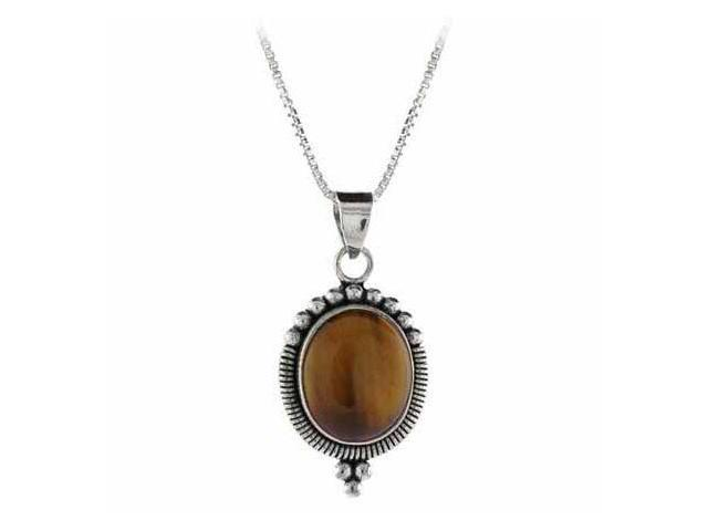 Sterling Silver Genuine Tiger Eye Stone Bali Beaded Oval Pendant