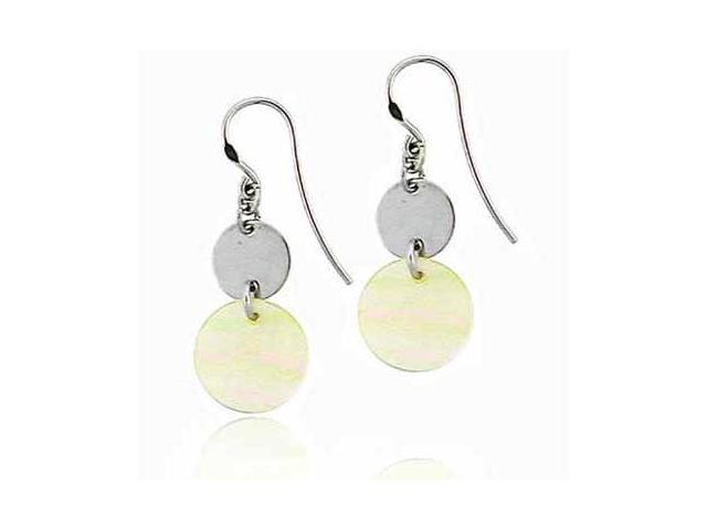 Platinum Silver Disk Circular Genuine Mother Of Pearl Dangling Earrings