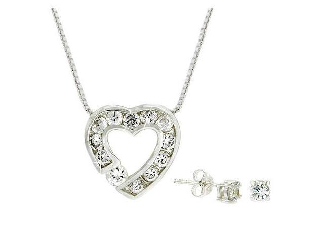 Sterling Silver Simulated Diamond cz Heart Pendant and Stud Earrings Set