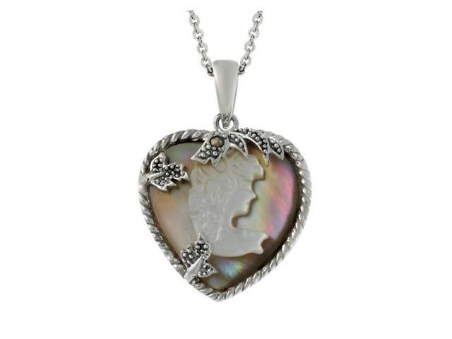 Sterling Silver Brown Shell & Marcasite Woman Cameo Pendant