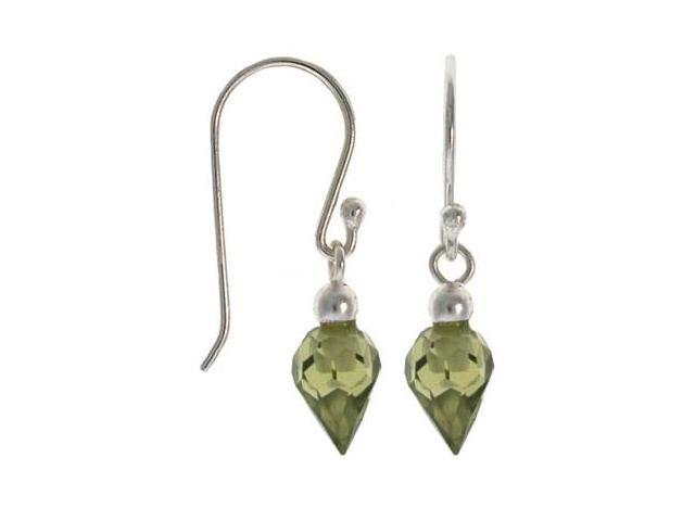 Sterling Silver .925 Olive green cubic zirconia stone dangle sparkle cz Earrings