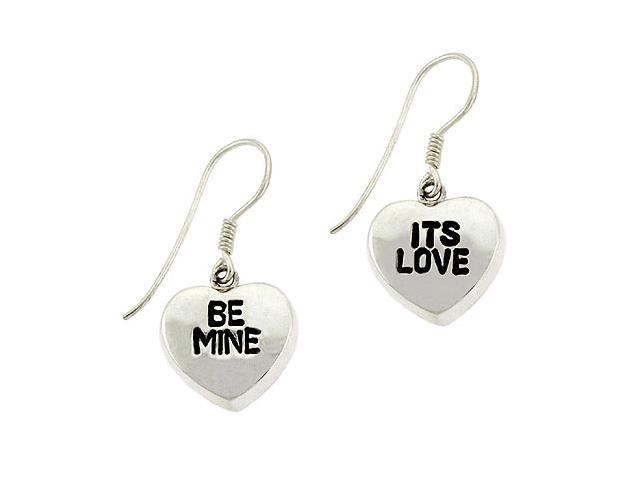 Valentine's Day Sterling Silver .925 'It's Love' and 'Be Mine' Puffed Heart Dang