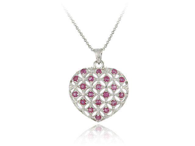 Sterling Silver Ruby Puffed Heart Pendant