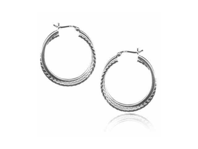 Double Twisted  Sterling Silver Hoop Earrings