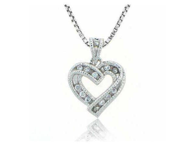 Sterling Silver Designer Simulated Diamond CZ Heart Pendant