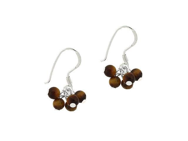 Sterling Silver .925 Genuine Tiger Eye Stone Bead Cluster Dangle Small Kid Earri
