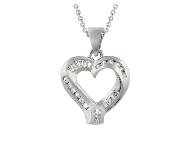 Sterling Silver & CZ Modern Polished Heart Pendant