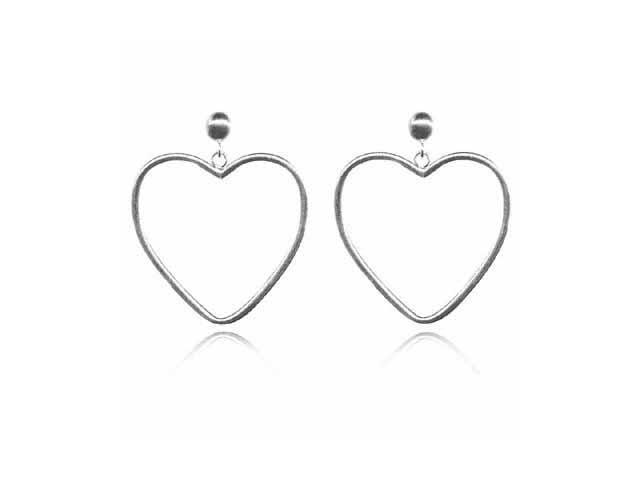 Sterling Silver Heart Hoop Earrings