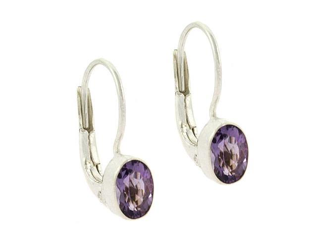 Sterling Silver Genuine Amethyst Stone Oval LeverBack Lever Back Earrings