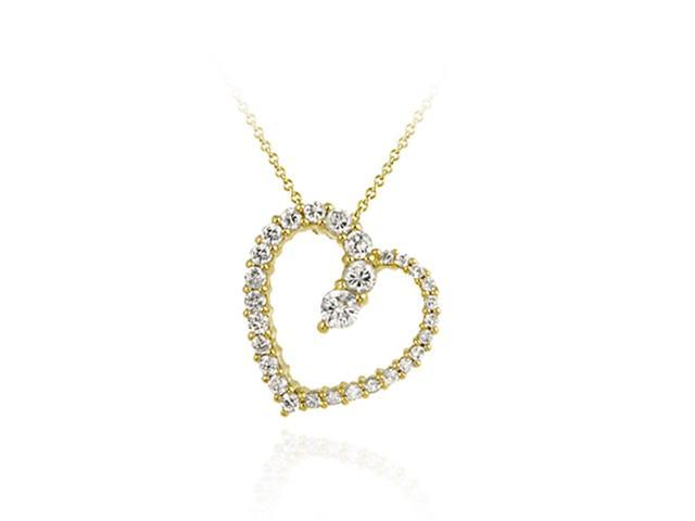 18K Gold over Sterling Silver Floating Open Heart Journey CZ Pendant