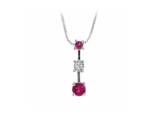 Sterling Silver Past Present and Future Created Pink Sapphire with Genuine Diamo