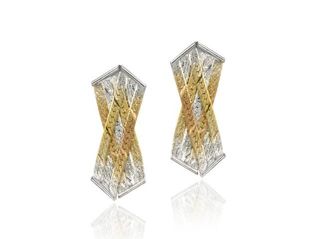 Sterling Silver & Gold Overlay Tri Color Intertwined Strand Earrings