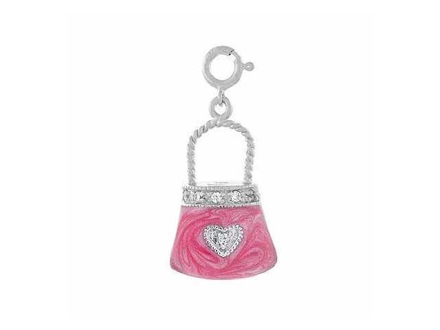 Sterling Silver 3-D Pink Enamel Simulated Diamond cz Heart Hand Bag Purse Pendan