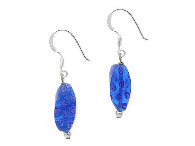 Sterling Silver .925 Murano Glass Blue Bead Beaded Millefiori Dangle Earrings