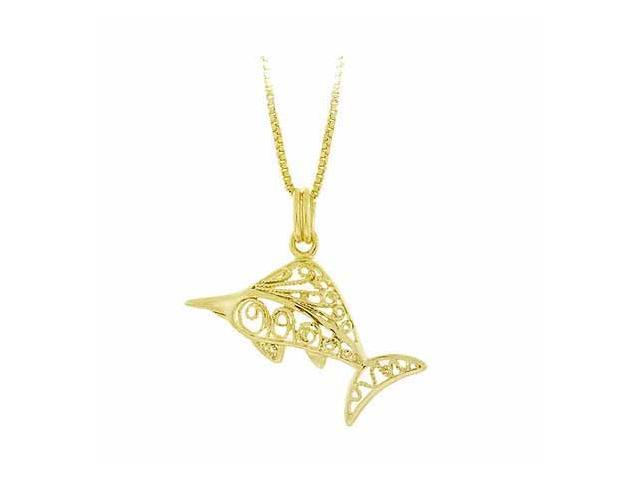 Vermeil (24k Gold over Sterling Silver) Filigree Sword Fish Pendant