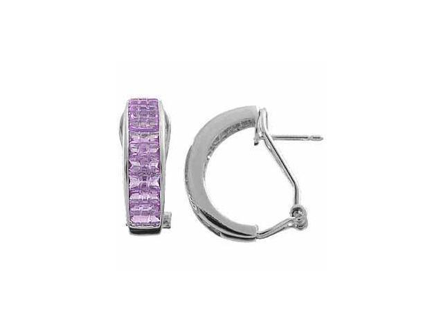 Sterling Silver Lavender Hoop Earrings
