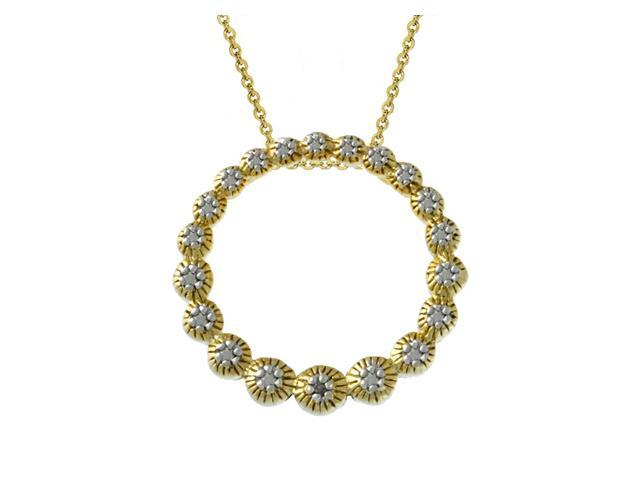 18k Gold over Silver Diamond Accented Eternity Pendant