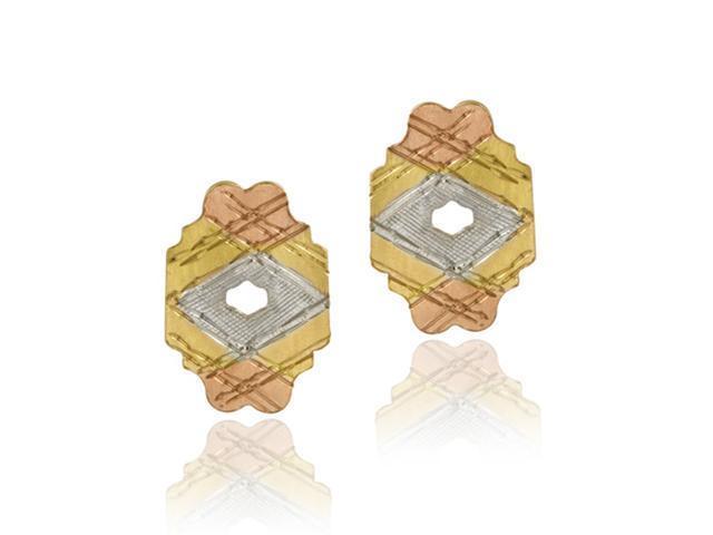 18K Gold over Sterling Silver Tri Color Vintage Earrings