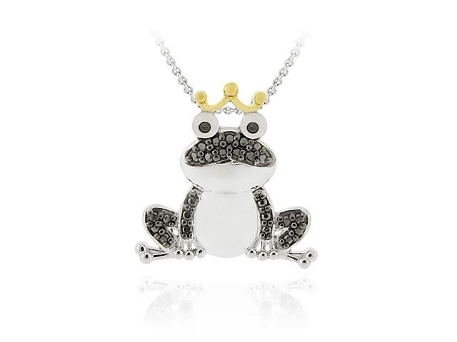Sterling Silver Two-Tone Black Diamond Accent Frog Prince Pendant