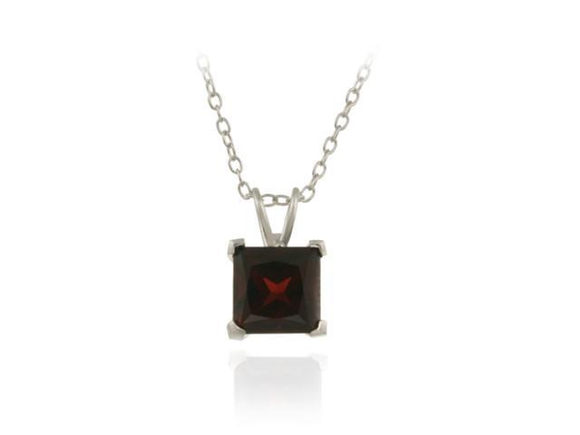 Sterling Silver 2ct TGW Garnet 7mm Square Solitaire Pendant, 18""