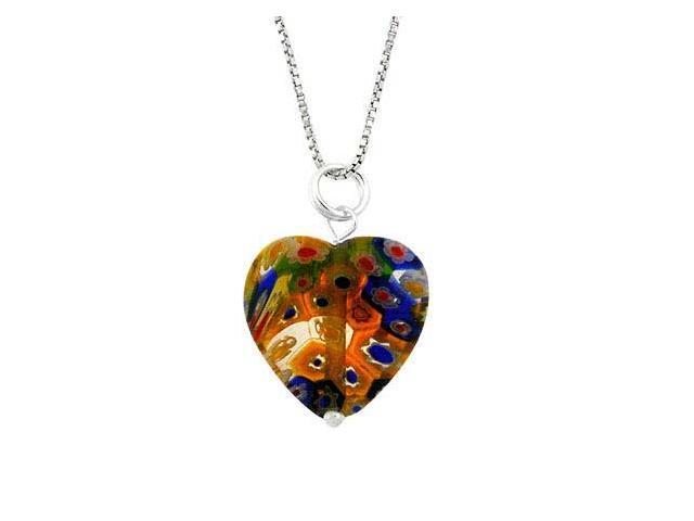 Murano Glass Sterling Silver Bead Multi Color Millefiori Flower Heart Pendant
