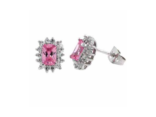 Sterling Silver Pink CZ and Simulated Diamond CZ Post Earrings