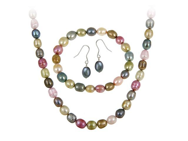 Sterling Silver Freshwater Cultered Multi Color Pearl Necklace, Bracelet, Earrin