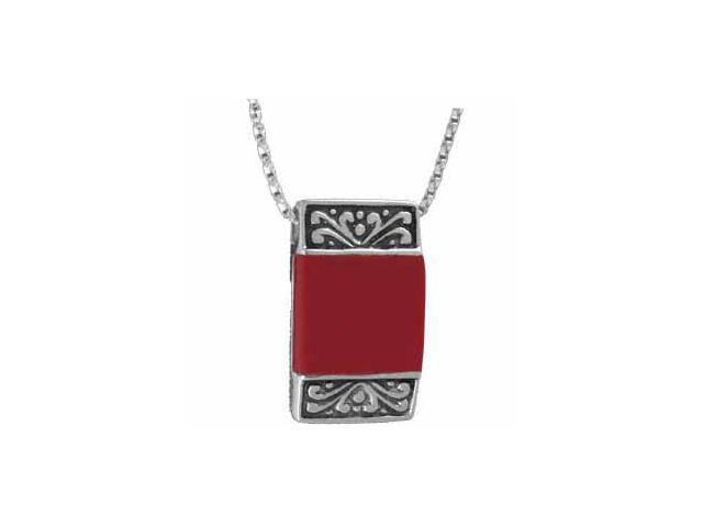 Vintage Sterling Silver Square Red Coral Pendant