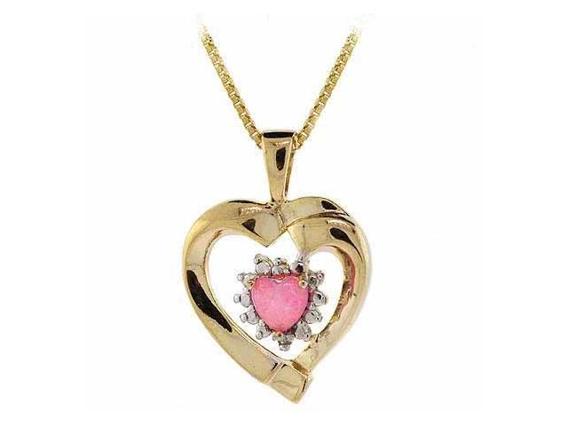 18K Gold over Sterling Silver Created Pink Opal & Diamond Accent Heart Pendant