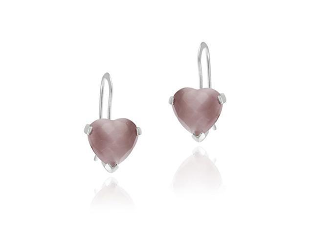 .925 Silver LAVENDER Heart DANGLE EARRINGS