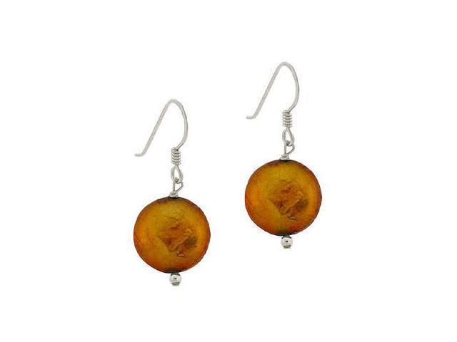 Sterling Silver .925 Genuine Freshwater Cultured Round Iridescent Amber Brown Go