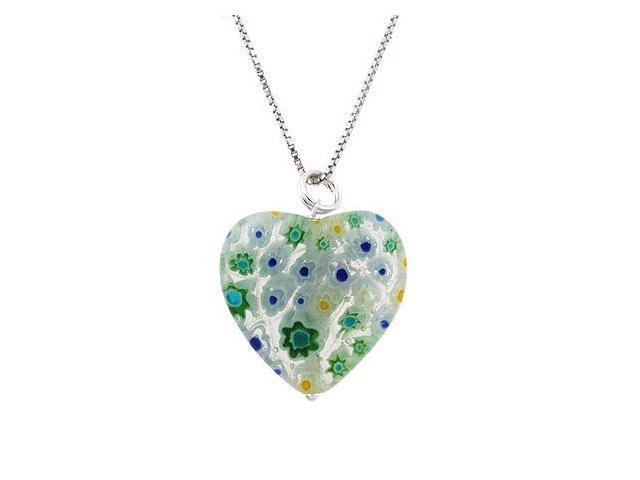 Summer Murano Glass Sterling Silver Bead Spring Green Millefiori Flower Heart Pe
